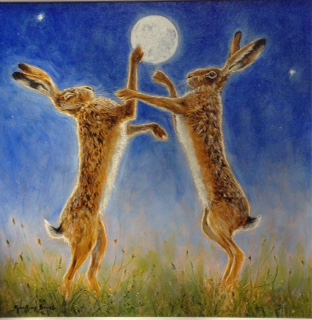 Moonlit Boxing Hares